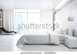 bedroom side view. Side View Of A White Wall Bedroom Interior With Double Bed, Bedside Table