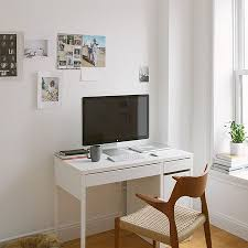 Furniture:Workspace With Glossy Wooden Minimalist Computer Desk Small White  Minimalist Computer Desk With Storage