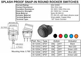 switches lighted and illumunated  spst sealed amber led lighted round rocker switch