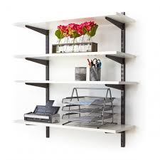 shelves for office. Office Wall Mounted Shelving Kits In Black | 900mm Wide Melamine Shelves For T