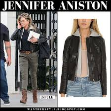 jennifer aniston in black leather cropped jacket alc edison green cargo pants and brown wedge