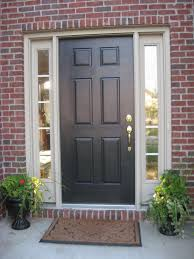 black front door with sidelightsBlack Wooden Door On The Middle Of Sidelights With White Frame