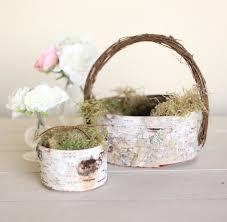 rustic flower basket and ring bearer pillow set birch moss twigs woodland natural wedding new 2016 design by morgann hill designs