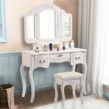 costway tri folding vine white vanity makeup dressing table set bathroom 5 drawers stool