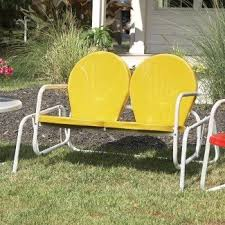 Outdoor metal chair Bistro Vintage Metal Chairs Outdoor Retro Metal Glider Lawn Walmart Vintage Metal Lawn Chairs Visual Hunt