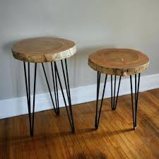diy round end table wood slab on hairpin legs end table diy tabletop tree diy round end table