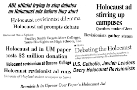 turning tables on holocaust hoaxers bradley smith ran essay length ads in 17 college papers in 91 92 think of what we can do now