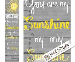 Canvas Growth Chart You Are My Sunshine Kids Bedroom Nursery Personalized Kids Growth Chart Height Chart Gc0323