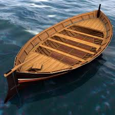 wooden row boat 3d model