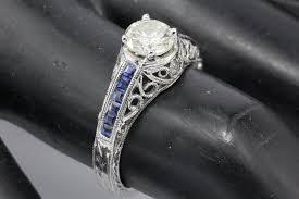 1 carat diamond size art deco style 14k white gold 1 carat diamond and sapphire ring size
