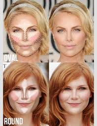 highlighting contouring for oval round face shape