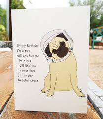 happy birthday pug card dog gift birthday anniversary
