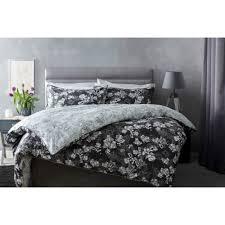 100 cotton sateen fl reversible duvet cover set in charcoal