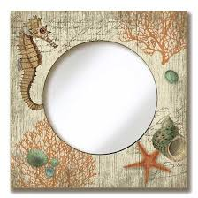 round mirror with seahorse seas vintage style wooden sign frame