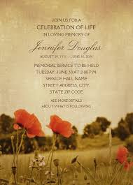 memorial service invitation country poppy field memorial service invitations edit online