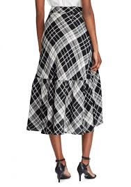 Designer Plaid Skirt Womens Plaid Ruffled Linen Blend Skirt Polo Black Mascarpone Cream Lauren Ralph Lauren Designer