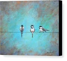 birds on a wire painting canvas print featuring the bird by telephone