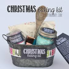 gift basket idea a baking kit in a tin put sprinkles cookie