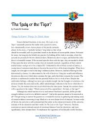 teachers guide the lady or the tiger the lady or the tiger by frank r stockton things to know things