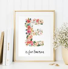personalized baby gift baby name wall art customized initials print vintage floral letters nursery wall print digital art baby  on personalized wall art for baby with personalized baby gift baby name wall art customized initials