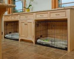 furniture pet crate. built in area for two dog crates furniture pet crate