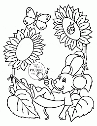 Spring Coloring Pages Cute Mouse And Page For Kids Seasons Spring Coloring Pages L