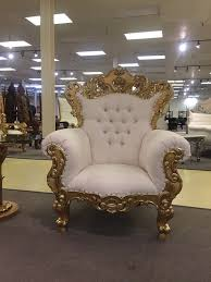 gold white ornate baroque rococo wedding salon boutique king queen throne chair hollywoodregency