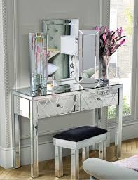 Mirrored Furniture Bedroom Foxhunter Mirrored Furniture Glass Dressing Table With Drawer