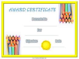 Kids Award Certificate Blank Certificate Templates Kids