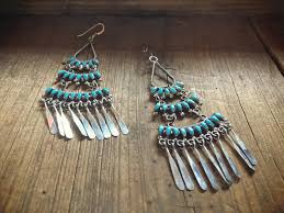 zuni milburn dishta turquiose petit point chandelier earrings native american indian jewelry