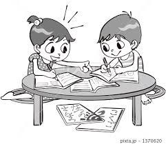 ちゃぶ台で夏休みの宿題をする小学生たちのイラスト素材 1370620 Pixta