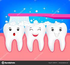 Dent De Dessin Anim Mignon Heureux Avec La Brosse Dents Image