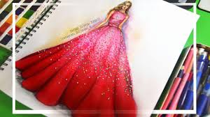 Youtube Fashion Design Sketches How To Paint Fashion Sketch Ombre Sparkling Dress