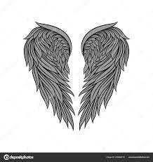 Vektorové Ikony Nádherný Heraldický Anděl Křídla S šedé Peří A černá