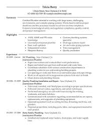 Journeymen Plumbers Resume Sample