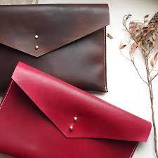 handmade leather envelope clutch bag