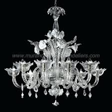 8 lights transpa and white glass venetian chandelier vintage murano uk
