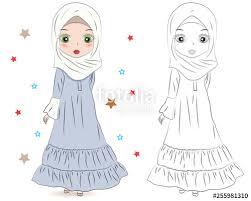 Set Of Hand Drawn Arabic Woman In Hijab On White Background Cartoon