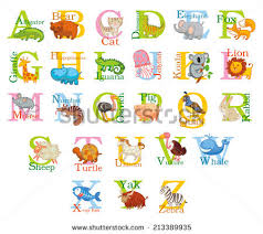 stock vector cute animal alphabet funny cartoon character a b c d e f g h i j k l m n o p q r
