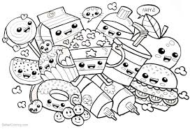 Cute Food Coloring Pages Many Snacks Free Printable Coloring Pages