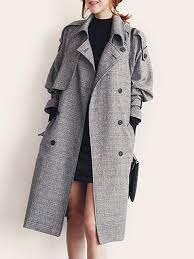 women s winter lapel double ted jacket long trench coat pea coat with belt