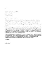 College Cover Letter Examples For Highschool Students Zonazoom Com