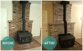 How To Whitewash Brick Nine Red How To White Wash The Fireplace