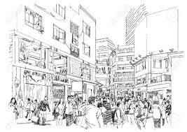 商店街の人々 の群衆のスケッチ