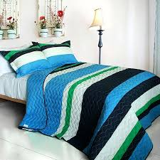 Blue Green Striped Teen Boy Bedding Full/Queen Quilt Set Cotton ... & Blue Navy Green Striped Bedding Full/Queen Quilt Set Teen Boy or Girl Adamdwight.com