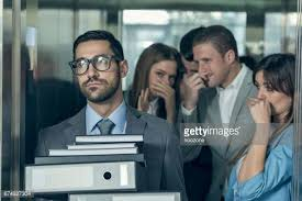 awkward people in elevator. smelly businessman affecting his coworkers in an elevator awkward people