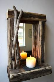 Rustic reclaimed Driftwood Farmhouse Mirror with shelf unique CHRISTMAS  Gift. Driftwood Candle HoldersDriftwood ...