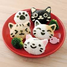 Bento Box Decorations Japanese 100D Cat Bento Rice Mold and Seaweed Nori Cutter Set for E 42
