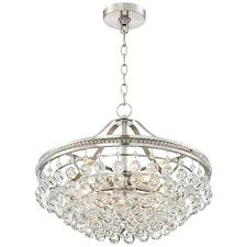 brushed nickel crystal chandelier 1 4 wide pendant light regina 19