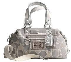 Coach Lurex Signature C Satchel Shoulder Bag Handbag Purse Style 15861 ~  Dove Gray